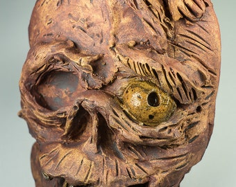 Scary zombie ceramic sculptural mask