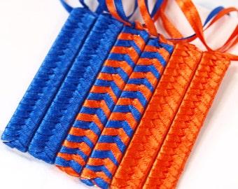 80s Retro Barrettes   University of Florida   Royal Blue and Orange    Retro Braided Barrette - Florida Gators   Orange and Blue
