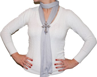 Magnetic Crystal Cross Pendant Scarf