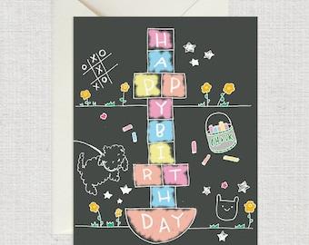 Happy Birthday Card - Sidewalk Chalk Card, Birthday Card, Kids Card, Sweet Card