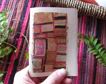 Weave Notebook 07. Mini Travel Pocket Diary - Traditional Rainbow in Weave, Laos - Draw down your thoughts here