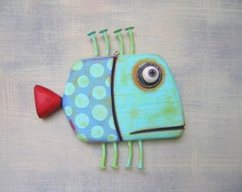 Blue Folk Fish, MADE to ORDER, Fish Wall Art, Original Found Object Wall Sculpture, Wood Carving, Folk Art, Marine Art, by Fig Jam Studio