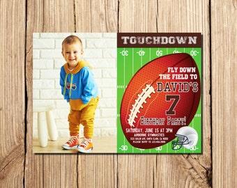 FOOTBALL INVITATION, with photo, Football Birthday Invitation, Football Party Invitation, American Football Invitation, Football,