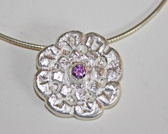 Silver Clay Floral Pendant