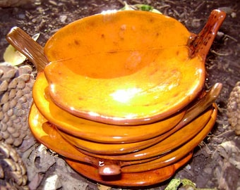 Pumpkin Ceramic Dish, bowl, catchall, jewelry, ring holder, fall decor, soap dish, candle holder, teabag holder, spoonrest.