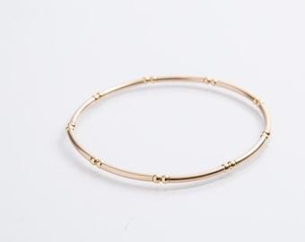 Small Gold Bead Noodle Bracelet