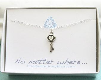 Meilleur ami cadeau • véritable diamant collier clé • coeur touche & diamant Accent • amour cadeau • touche à mon cœur • BFF cadeau • n'importe où