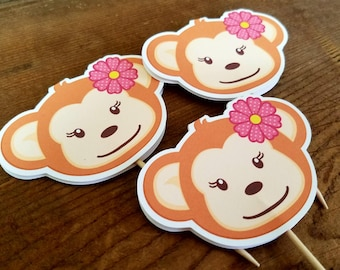 Monkey Birthday Party - Set of 12 Monkey Girl Cupcake Toppers by The Birthday House