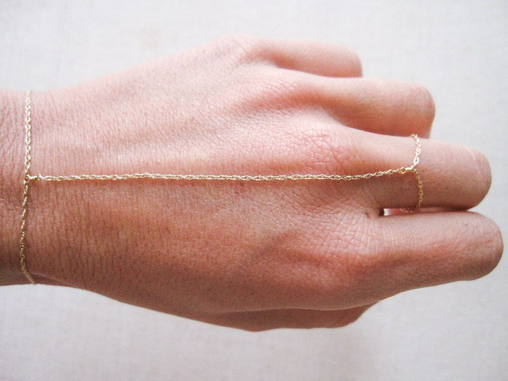 14k solid yellow gold hand chain slave bracelet finger