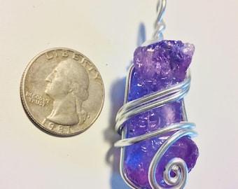 Raw amethyst wire wrap, wire wrapped raw amethyst, raw amethyst necklace, amethyst pendant, amethyst jewelry, wire wrapped jewelry, crystal