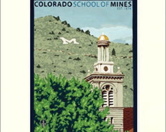 Colo. School of Mines Giclée Art Print: Colorado Series, The Bungalow Craft by Julie Leidel, WPA-Style Poster Art, Arts & Crafts Movement