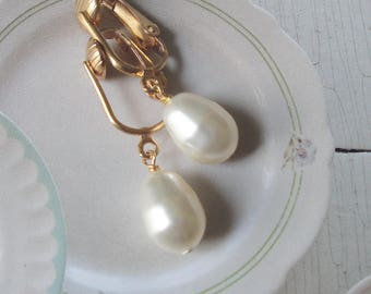 Wedding Pearl Earrings On Gold Tone Vintage Wishbone Style Ear Wires   Special Gift For Her
