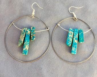 Blue Jasper Hoop Earrings