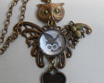 STEAMPUNK OWL BEE Holds The sECRET kEY nECKLACE Copper Butterfly Stamping Owl Head