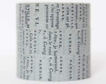 Washi Tape newspaper Grey text font