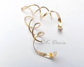 Gold Dangle Earrings Spiral Threader Earring, Long Coil Open Hoop, 14k Gold Filled Helix Twist Earring Womens gift custom statement jewelry