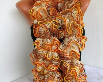 Curly Scarf, Ruffled  Scarf for Women - Ruffled Scarf - Knitted Ruffled Scarf Woman-    Warm Scarf