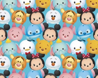 """Disney Fabric - Disney Tsum Tsum Fabric - Disney Tsum Mickey & Friends Packed 100% cotton 44"""" wide fabric by the yard, SC101"""