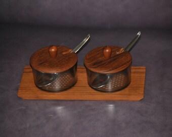 LUTHJE Teak Wood/Plastic Condiment Set produced in Denmark Vintage