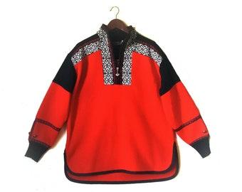Vintage 1990s Obermeyer Aztec southwestern fleece ski pullover jacket