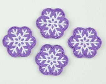 SNOWFLAKE - Embroidered Felt Embellishments / Appliques - Purple & White  (Qnty of 4) SCF4060