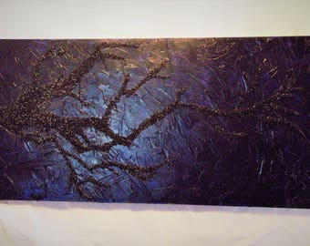 Parisian Blue Textured with Black Crushed Glass Tree Branch