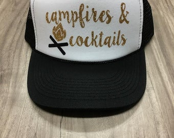Campfires and Cocktails Trucker Hat Hat Mesh Camping Desert Riding Country Women's