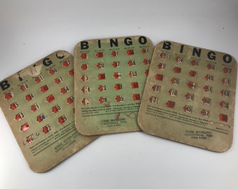 Set of 3 Vintage Cardboard Bingo Cards with Built In Covers for Numbers