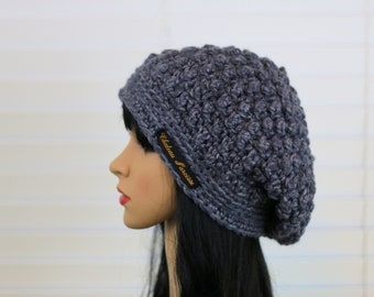 Charcoal Puff Slouch Hat