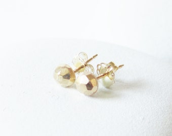 14 kt gold stud earring, solid faceted gold post earring , simple elegant and rustic