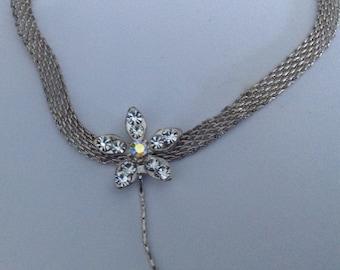 Vintage crystal flower necklace choker, chain link, AB stone, pendant dangle, vintage 1970s jewellery