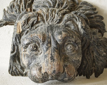 Carved wood lions head