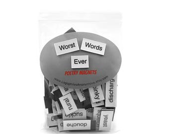 Worst Words Ever Poetry Magnets - Refrigerator Word Quote Magnets - Free US Shipping