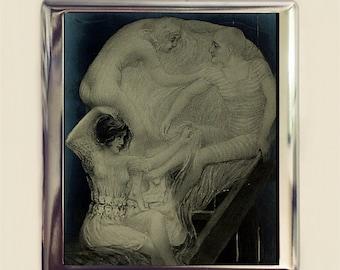 Skull Optical Illusion Cigarette Case Business Card ID Holder Wallet Metamorphic Dark Art Goth Victorian Sailor