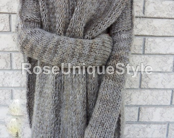 Oversized woman knit  sweater.Chunky/Bulky loose  knit sweater. Marble grey sweater. Loose fit  wool sweater.