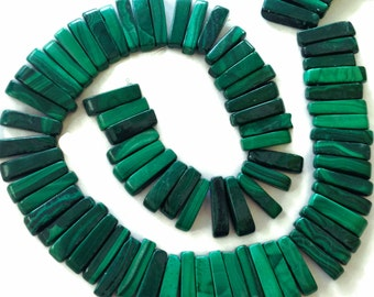 Malachite top-drilled sticks, natural, untreated, undyed.  Approx. 3x13mm - 4x16mm.   Select a quantity.