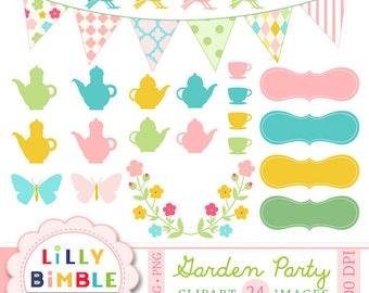 Garden Party clipart for cards, Birds, Teaparty, teapot, bunting floral DIGITAL DOWNLOAD