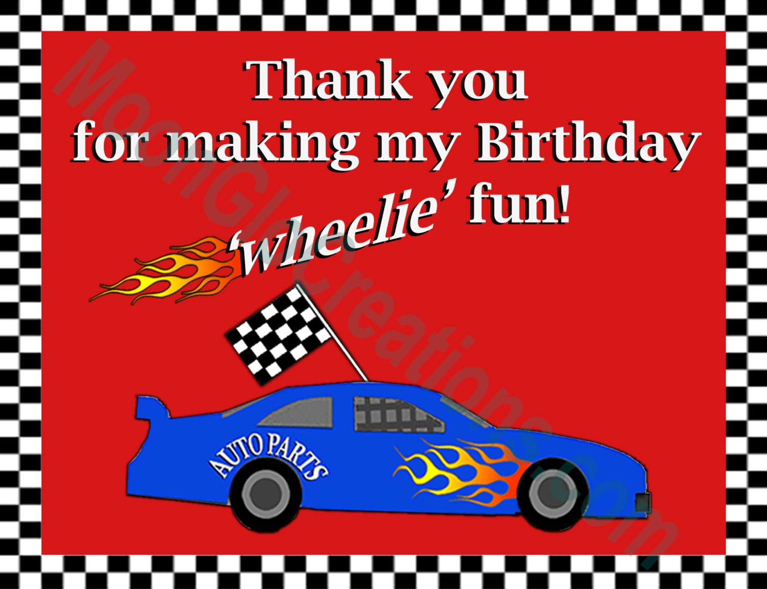 Race Car Theme Thank You Card Goodie Bag Tag Birthday Party