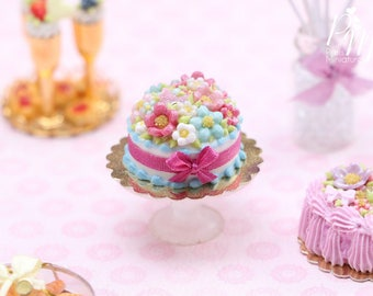 Aqua and Pink Blossom Cake - Miniature Food in 12th Scale for Dollhouse