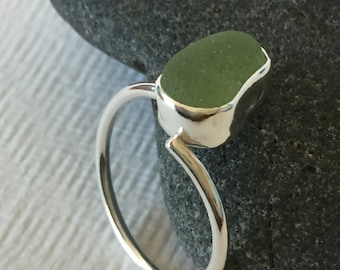 Silver sea glass adjustable ring