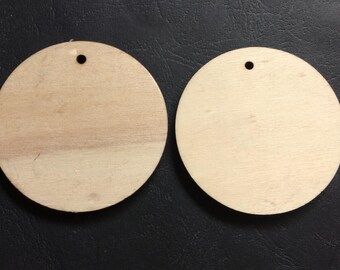 8 Pcs 65mm(2-3/5) Wood Circle Wooden Discs Unfinished Wooden round Disks No Varnish (NW287)