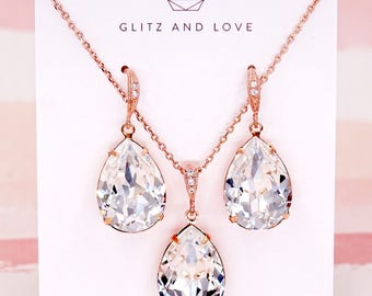 Rose Gold Wedding Bridal Swarovski Crystal Teardrop Earrings, Bridesmaid Necklace Wedding Brides Earrings, Silver Rose Gold, Carrie E115