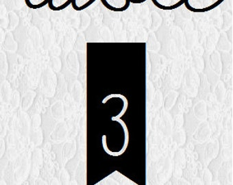 Lace/Arrow - Wedding Table Numbers 1-20