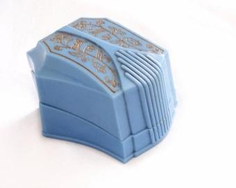 Art Deco Double Ring Box - Wedding Engagement Ring Presentation Box - Blue Cellluloid Plastic Gold Embossed Engagement Ring - Ring Holder