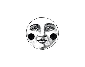 Moon Face Rubber Stamp