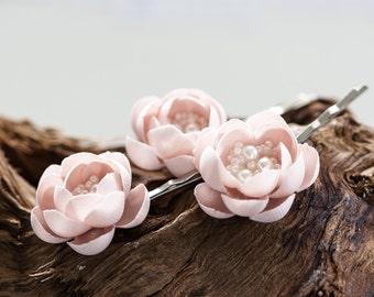 715 Pink flower pins, Flower hair accessories, Wedding hair accessories, Bridal hair accessories, Wedding headpieсe, Flower hair clips, pin