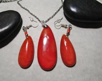 Orange Dragon Vein Pendant and Earrings