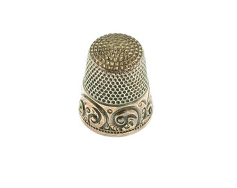 SALE--Stering Silver and 14K Gold Thimble