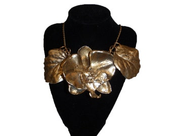 Orchid and Leaves Statement Necklace (Special Order)