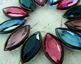 12pc Swarovski Crystal 15/7 Navette Marquise Channel Cut Vintage 7/15 mm Oxidized Dark Patina Brass Bezel Prongless Setting NOS Mixed Lot 4B